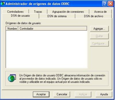 crear origen de datos odbc