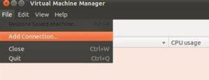 Agregar conexión virt manager